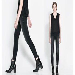 Zara Light Wash Black Low Rise Skinny Jeans 2